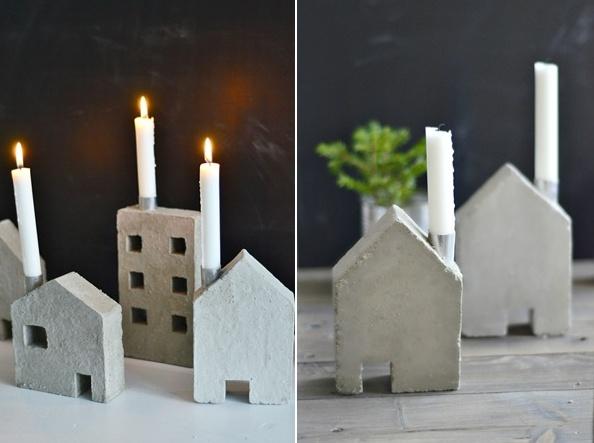 домики-подсвечники concrete diy candlestick