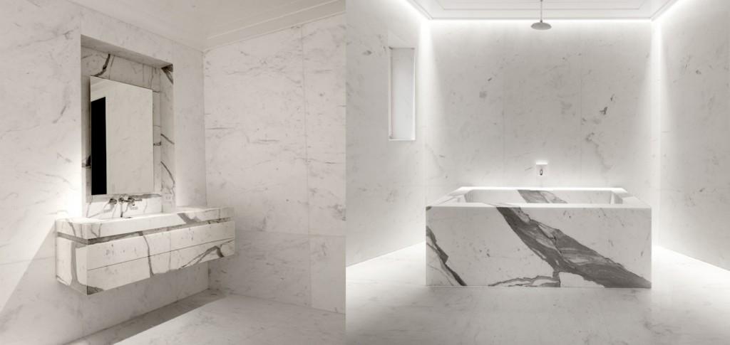 Стиль Парижа и Бруклина в интерьерах Halard-Halard Marble bathroom