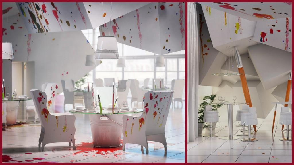 Необычные дизайнерские приемы для оформления потолков art-restaurant