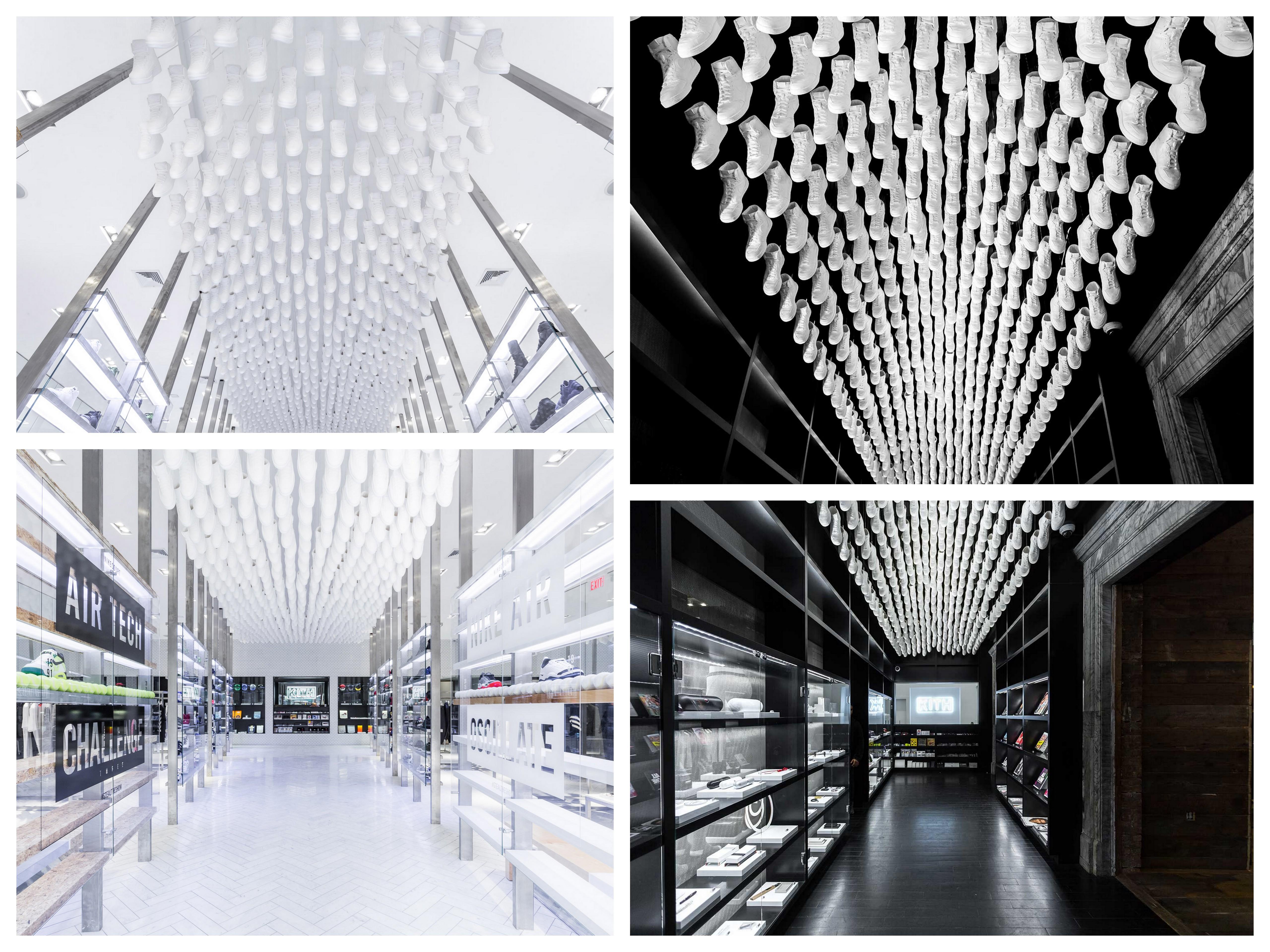 Необычные дизайнерские приемы для оформления потолков Nike